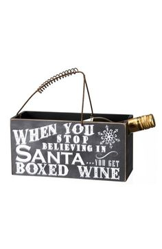 fun 'when you stop believing' wine caddy http://rstyle.me/n/tpjz5r9te