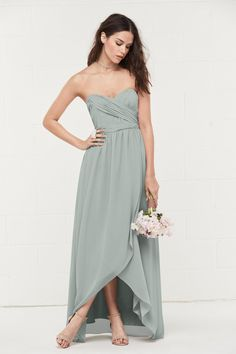 b23e5686bac4d WToo Bridesmaids by Watters 401 This strapless sweetheart gown flatters the  figure with a gently ruched bodice, banded natural waist, and flirty  high-low, ...