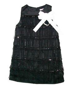 Black Fringe Ariel Shift Dress - Toddler & Girls
