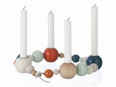 Ferm Living Candle Holder String, love this for Christmas table. Design Shop, Deco Design, Chandeliers, Christmas Time, Xmas, Christmas Place, Advent Wreath, Danish Design, Porta Velas