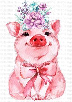 Pig Art, Cute Piggies, Animal Paintings, Watercolor Paintings, Illustration Art, Canvas Art, Mandala, Crafts, Png Format