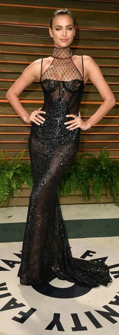 Irina Shayk flawless in a black Versace gown