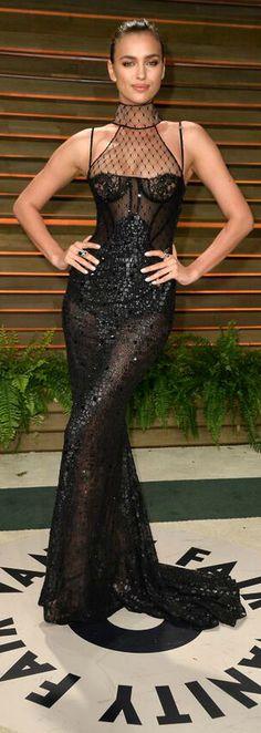 Irina Shayk flawless in a black Versace gown