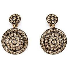 Oscar de la Renta pavé crystal clip on earrings (1.975 RON) ❤ liked on Polyvore featuring jewelry, earrings, metallic, pave crystal jewelry, crystal clip on earrings, crystal jewellery, clip on earrings and crystal earrings
