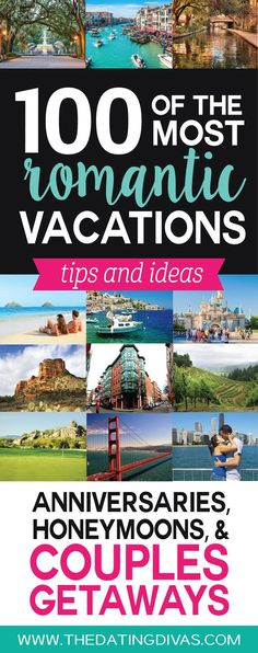 Love it!  This is seriously the ULTIMATE list of romantic vacation ideas for couples! OVER 100 ideas and tips for the perfect the perfect romantic anniversary trip, honeymoon, or couples getaway! Pinning for later! www.TheDatingDivas.com