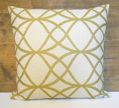 Gold embroidered trellis decorative pillow by pillowflightpdx, $34.00