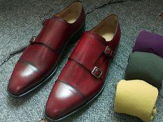 Shoemakers: Bespoke custom hand-colored burgundy patina double monk strap shoe