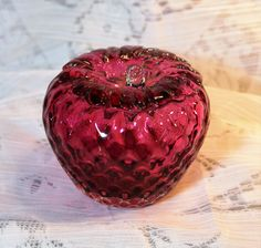 Art Glass Strawberry Paperweight or Collectible by AmericanVintageAve on Etsy