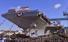 Portaaviones Gerald Ford. El nuevo portaaviones nuclear estadounidense Gerald Ford fue botado el 10 de noviembre de 2013