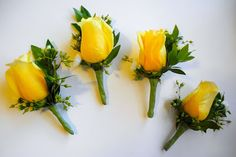Yellow rose button hole for groomsmen