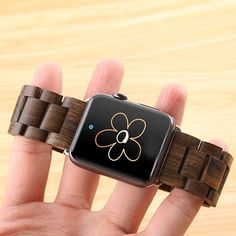 2016 Newest Apple Watch Wooden BandAIYIBEN Bracelet Strap Classic Wristband Wood Bracelet Strap for Apple iWatch Sport and Edition Brown * Continue to the product at the image link. (This is an affiliate link) Apple Watch Iphone, New Apple Watch, Apple Watch Series 2, Sport Watches, Watches For Men, Apple Watch Accessories, Apple Watch Bands 42mm, Wood Bracelet, Series 4
