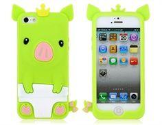 """Capa de silicone Porquinho """"Pig King"""" para iPhone 5 - Verde"""