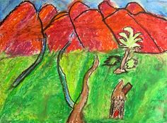2nd Grade Oil Pastel Landscapes- Paul Gauguin.  Intro with puzzle of Tahitian Landscape.
