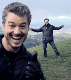 "Former ""Grey's Anatomy"" star Eric Dane shared an old photo of himself 'social distancing' with fellow actor Patrick Dempsey. Eric Dane, Francisco Javier Rodriguez, Beautiful Men, Beautiful People, Mark Sloan, Patrick Dempsey, Youre My Person, Raining Men, Movies Showing"