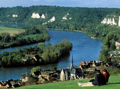 Seine River is so stunningly beautiful & romantic.  Beginning from Dijon, west to Normandy, this 500 mile river goes between most scenic stretch of France.  The 16 mile between the French towns of Vernon & Les Andelys (pic here) has such beauty you will feel like you stepped back in time. This most scenic stretch is also the most romantic...just step back in time...Condé Nast Traveler