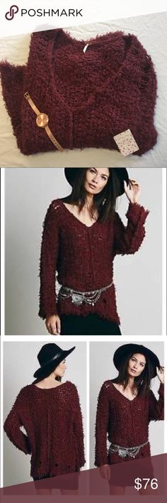 NWT Free People Up the Ladder Sweater in Cinnamon Adorable soft and cozy sweater from Free People! Distressed and chunky, perfect cinnamon color. New with tags! Free People Sweaters