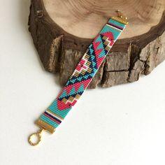 Bracelet de perles, perles à tisser Bracelet, Bracelet de perles Miyuki Delica, Bracelet aztèque, Bracelet Perles, Bracelet en Peyote Stitch, Boho Bracelet