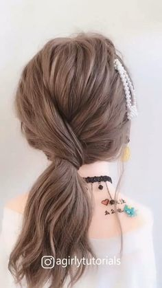 Easy Hairstyles For Long Hair, Up Hairstyles, Short Hair Updo Easy, Office Hairstyles, Simple Hairstyle Video, Easy Updo For Work, Short Hairstyle Tutorial, Cute Updos Easy, Simple Hair Updos