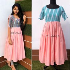 Girls Frock Design, Long Dress Design, Stylish Dress Designs, Indian Gowns Dresses, Indian Fashion Dresses, Indian Designer Outfits, Fashion Wear, Kalamkari Dresses, Ikkat Dresses