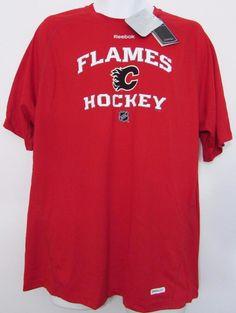 a492c0e890d5 Men NHL Calgary Flames T Shirt Reebok Center Ice Collection sz Large NWT  NEW  Reebok  CalgaryFlames