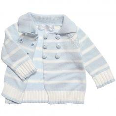 Powell Craft - Blue Striped Cotton Cardigan | CHILDRENSALON