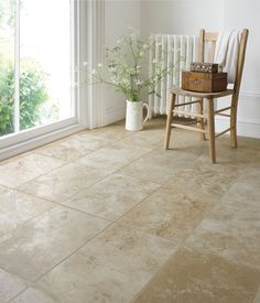 Travertine Filled Honed Floor Tile (40x61cm) | Topps Tiles