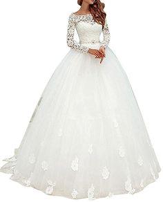 b48fd3805264bc Cloverbridal Elegant Brautkleider Spitze Hochzeitskleider für Damen  Prinzessin Lange Ärmel (32, Elfenbein) -