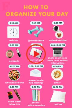 How To Organize Your Day - daily routine - Skin Care Haut Routine, Healthy Morning Routine, Morning Routines, Morning Routine Printable, Morning Routine Chart, Morning Workout Routine, Sunday Routine, Night Time Routine, Early Morning Workouts