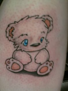 My Finished Polar Bear Tattoo. My Poley Bear Tattoo Baby Bear Tattoo, Care Bear Tattoos, Teddy Bear Tattoos, Polar Bear Tattoo, Foot Tattoo Quotes, Foot Tattoos, Cute Tattoos, Star Tattoo Designs, Japanese Tattoo Designs