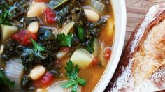 This wonderful soup will warm your insides, delight your taste buds, and fill your stomach on a cold winter's night. It is full of dark green kale, potatoes, and cannellini beans.