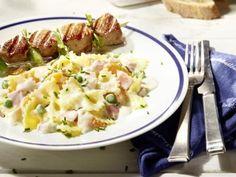 "Nudelsalat ""Sylter Art"" mit Schinken und Mandarinen #Grillrezepte #Nudelsalat #Salat"