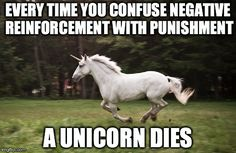 EVERY TIME YOU CONFUSE NEGATIVE REINFORCEMENT WITH PUNISHMENT A UNICORN DIES | made w/ Imgflip meme maker