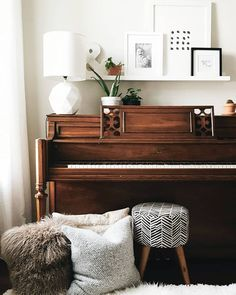 Piano Decor - decorating the top of a piano, neutral living room decor ideas | A Dash Of Mum