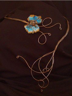 Gargantilha Margarida Azul * Blue Daisy Choker * Fashion * Jewelry