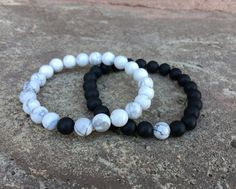 2 PC SET! Distance Bracelets - Black and White Matching Pair - Long Distance - For Friendships/Relationships/Couples MORE - His/Hers