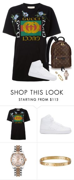 """bye b"" by hosana-317 ❤ liked on Polyvore featuring Gucci, NIKE, Louis Vuitton, Rolex and Cartier"