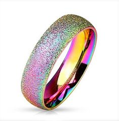 #ZZ - Pride Shack - #LGBT_Rainbow_Anodized_Glitter_Ring Rainbow Anodized Glitter Ring - Gay & Lesbian Pride Stainless Steel Ring - AdoreWe.com