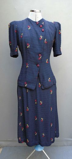 Original Vtg 1940s WW2 30s Suit Handmade Jacket Top Skirt Deco Embroidered Dress | eBay