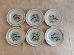 6 French Vintage Fish  Plates Digoin Limoges by AlfiejayneVintage, €64.00