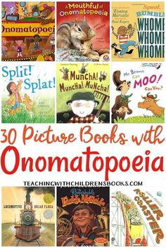 This collection of picture books with onomatopoeia are perfect for your upcoming lessons. Students will see and hear onomatopoeia in action! https://teachingwithchildrensbooks.com/books-with-onomatopoeia/