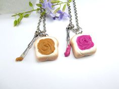 Brittany!! this would be so cute for you and marlee bug - pb&j Necklace Friendship Necklace 2pcs by fwirl