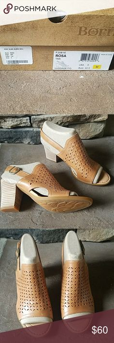 Born sling back open toe leather shoes Born  sling back, block heels. perforated design, buckled ankle strap, lightly cushioned 3.25in. heel, open toe, leather upper, man made sole imported Born Shoes