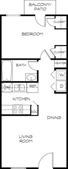 Floor Plan... good for Me with minor changes - put washer/dryer combo in space for dishwasher, make that closet into larger pantry, remove small pantry and stretch the kitchen counter into that space.