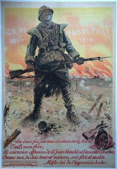 WWI Poster 1918 Affiche Ancienne Francais YOU CANNOT PASS Soldier