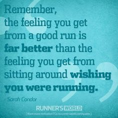 "YES! ""Remember, the feeling you get from a good run is far better than the feeling you get from sitting around wishing you were running."" - Sarah Condor"