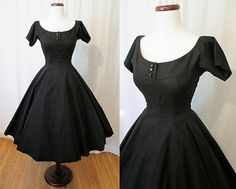 Adorable 1950's Black Cotton New Look Summer Dress by wearitagain, $148.00