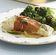 Prosciutto-Wrapped Halibut with Sage Butter Sauce