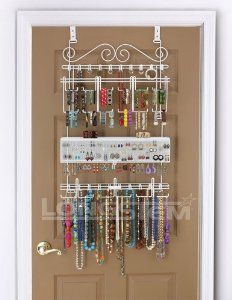 Amazon.com: Overdoor/Wall Jewelry Organizer in White By Longstem - Unique patented product - Rated Best: Home & Kitchen