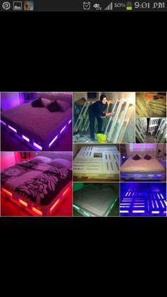Light up pallet bed frame