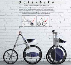 """La bicicleta Solar, es un concepto que nos permite """"quemar"""" algunas calorías y cambiar convenientemente a pedalear eléctricamente una vez que estamos cansados. Solar Bike por Juyoung Na"""